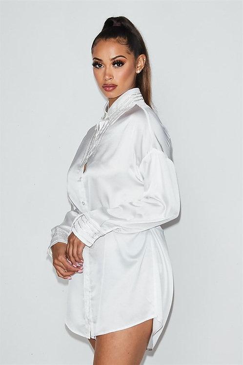Babe Rhinestone Satin Dress White
