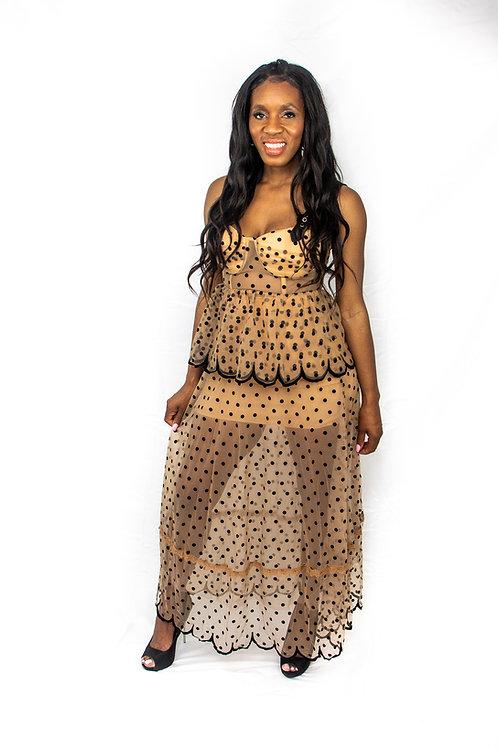Italya Polka Dot Mid-length Skirtset
