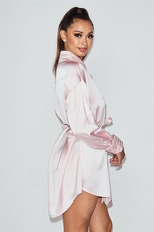 Babe Rhinestone Satin Dress