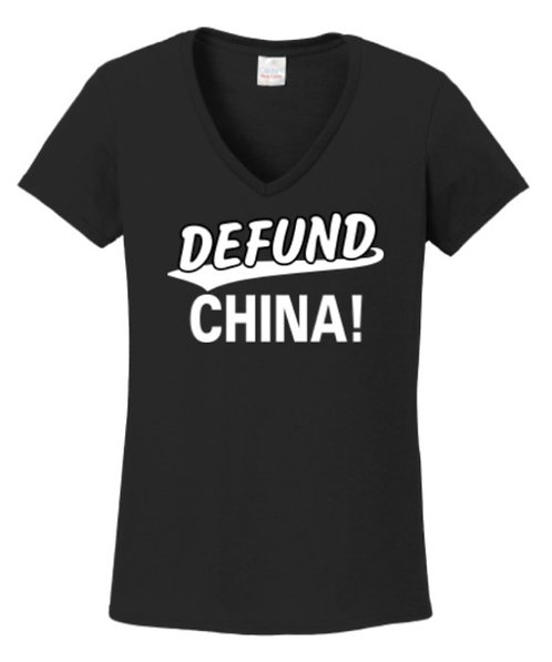 Defund China Ladies V-Neck T-Shirt