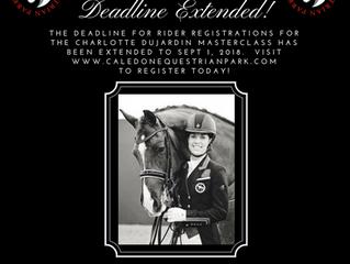 Charlotte Dujardin Masterclass Rider Registration Deadline has been extended!