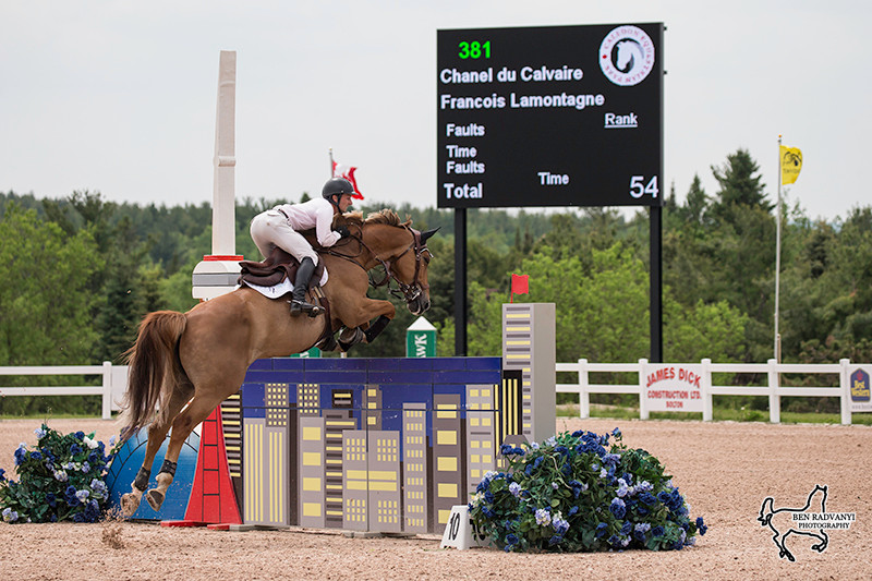 Francois Lamontagne and Chanel du Calvaire riding for the win in the $30,000 presented by Stonewood Management. Photo Courtesy of Ben Radvanyi Photography.