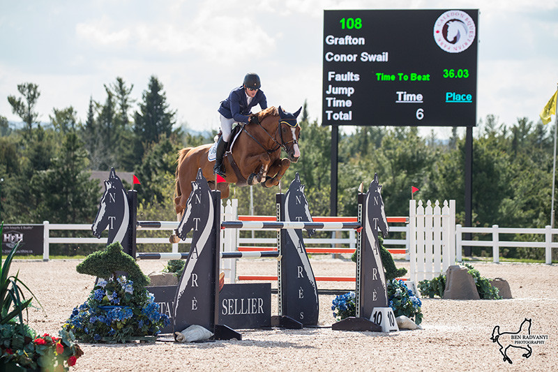 Ireland's Conor Swail and Susan Grange's Grafton got things rolling for Lothlorien Farm in Friday's $35,000 FEI Open Welcome, presented by Antares. (Photo courtesy of Ben Radvanyi Photography)