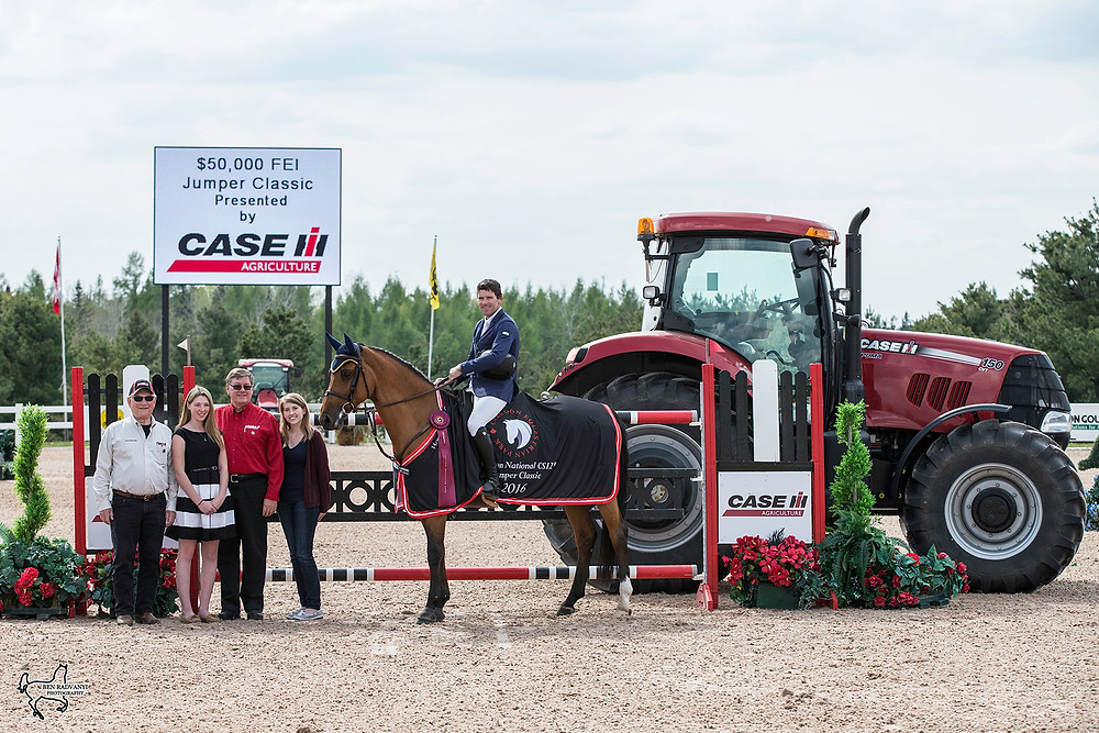 Conor Swail and Cita with new sponsors Robert and Michelle Meier and Hugh and Annette Snodden from CASE IH.  CASE IH has also provided a new fleet of top-of-the-line equipment for ring and park maintenance for the season.   Phot Courtesy of Ben Radvanyi Photography.