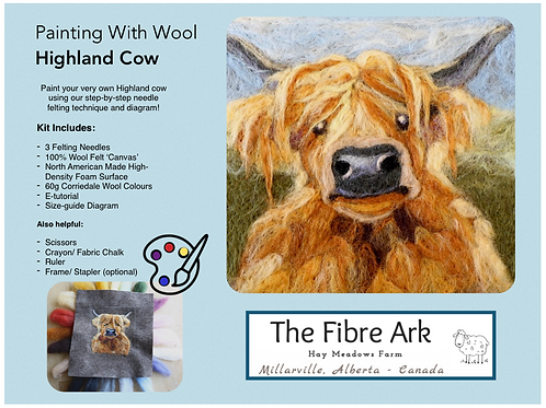 Highland Cow 2D Felted Picture Kit
