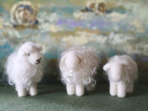 White Wooly Sheep Kit (makes 3)