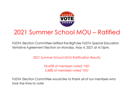2021 Summer School MOU Results