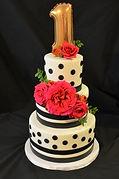 Kaleena Cakes - kelowna birthday cakes - polka dot birthday cake - 1st birthday cake - first birthday cake