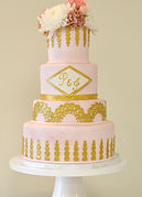 Kaleena Cakes - Kelowna Wedding Cakes - West Kelowna wedding cakes - gold wedding cake - pink wedding cake