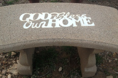 Curved God Bless Our Home Bench