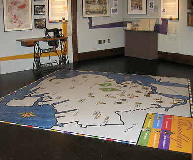 map, illustrated map, map illustration, historical map, photo of exhibit, exhibit graphics, exhibit design, Brooklyn, graphic design, history