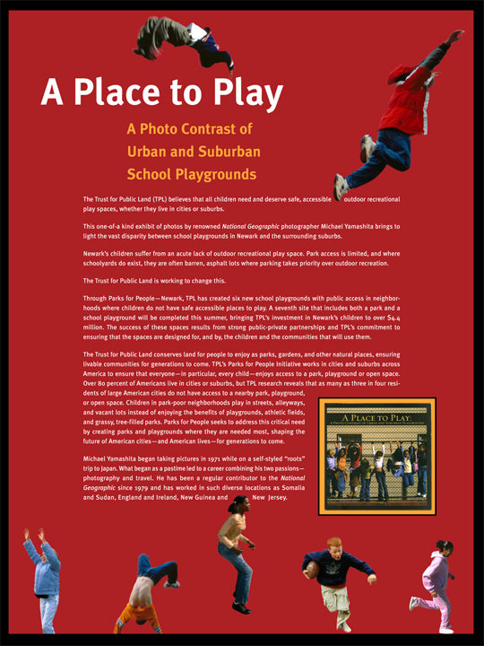 TPL, Trust for Public Land, kids playing, playgrounds, graphic design, exhibit graphics, exhibit design,school playground