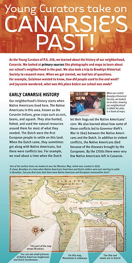 Canarsie, Canarsie history, graphic design, exhibit graphics, exhibit design, Brooklyn, history, historical map, public school, school program, PS 276