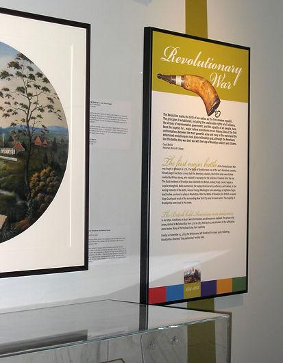 photo of exhibit design, exhibition design, Brooklyn, Brooklyn Historical Society, history exhibit, Revolutionary War, graphic design