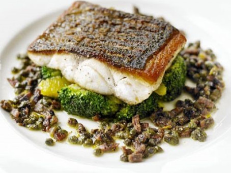 Pan-Fried Seabass with Citrus-Dressed Broccoli
