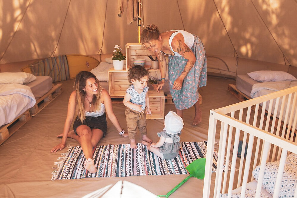 family surf camp portugal tent inside