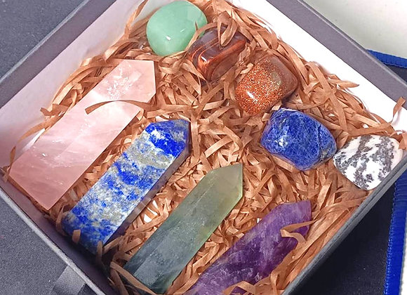 Crystal Point Gift Healing Rose Quartz Lapis Lazuli Green Fluorite Amethyst