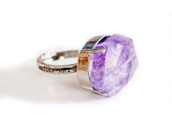 Silver Ring With Amethyst Stone