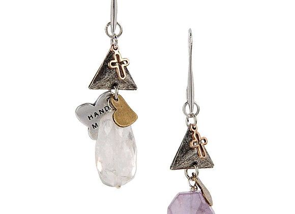 Amethyst and Rock Crystal Dangle and Drop Earrings