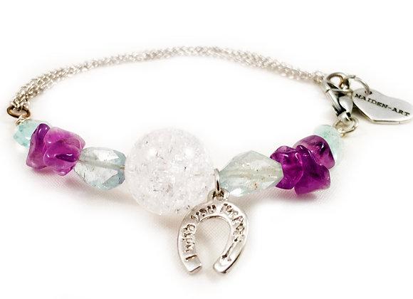 Aquamarine, White Onyx and Amethyst Stone Silver Plated Bracelet Horseshoe Charm