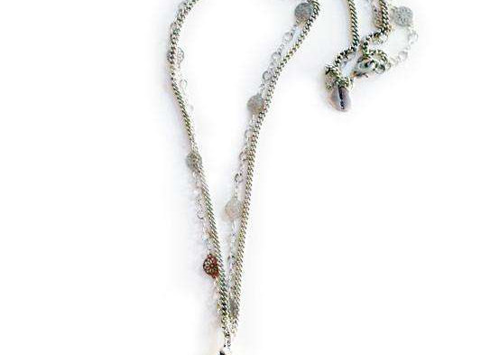 Lariat Necklace With Amethyst and Light Rose Pearl.