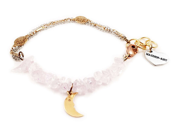 Rose Quartz and Moon Charm Bracelet