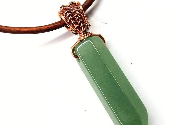 Men's Rustic Wire Wrapped Pointed Gemstone Crystal Leather Necklace