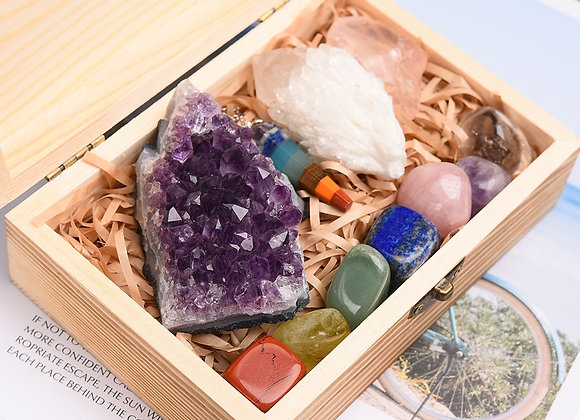11pc Natural Amethyst Cluster Quartz Crystal Healing Stones Seven Chakra Therapy