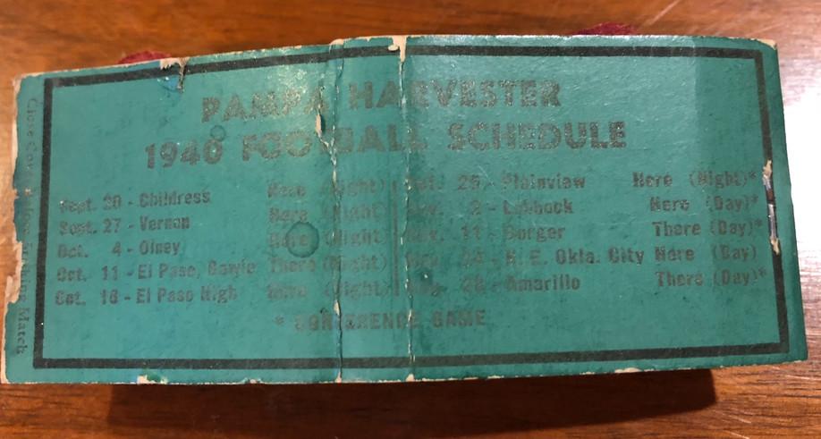 1940 Pampa Matchbook Schedule.jpg