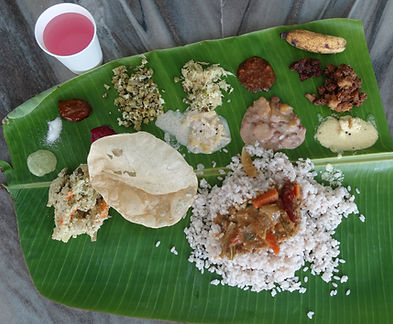 TRaditional Kerala meal in Banana