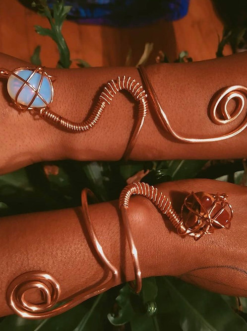Copper cuff with crystal
