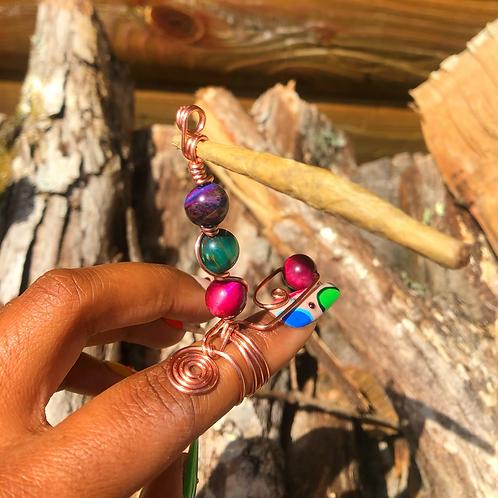 Pink, Green, and Purple tigers eye  spliff ring
