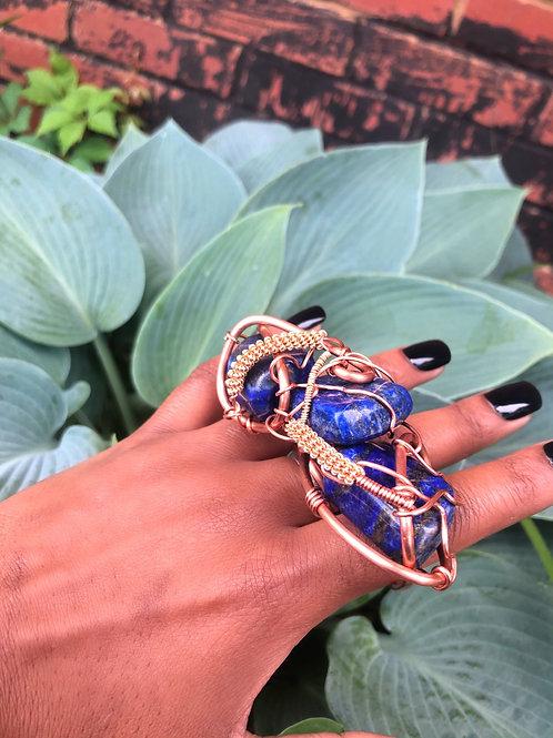 Lapis Lazuli Three Finger Ring