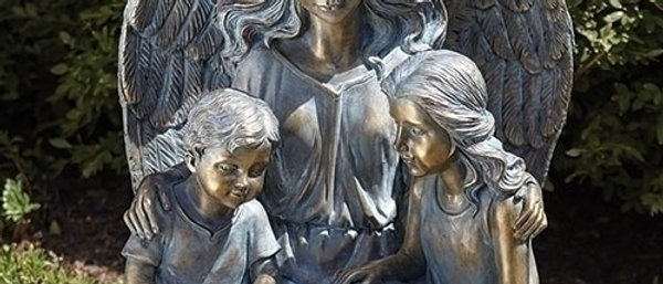 "15.5"" ANGEL W/KIDS & BOOK"