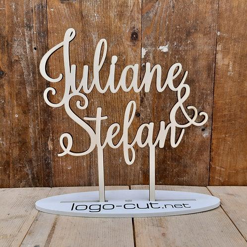 Holz Cake Topper Hochzeit personalisiert V14
