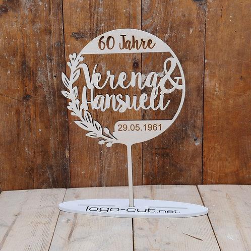 Holz Cake Topper Hochzeit personalisiert V19