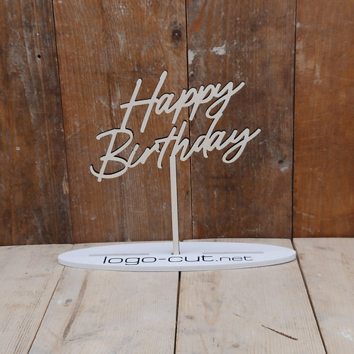 Holz Cake Topper Happy Birthday V4