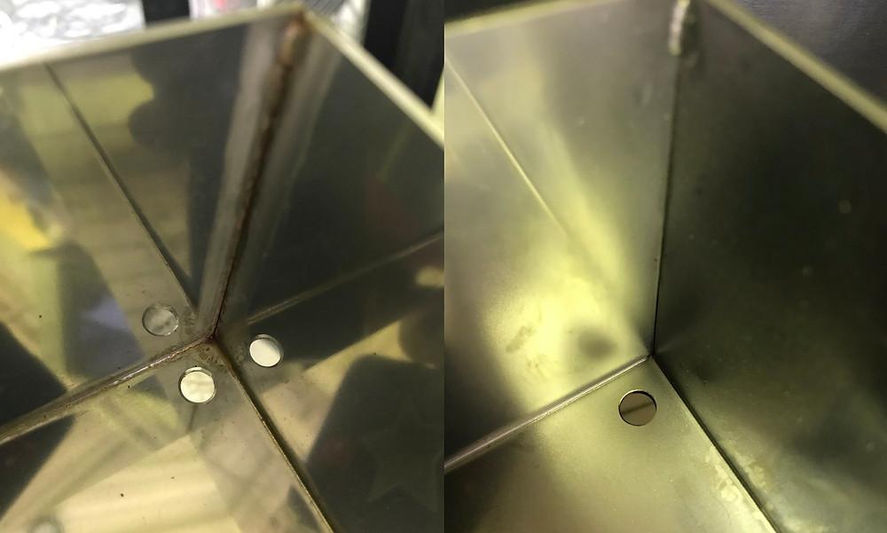 ウェットブラストで板金品の溶接焼け取り