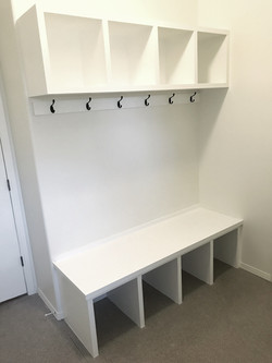 Mudroom with Cubbies, Hooks, and Bench