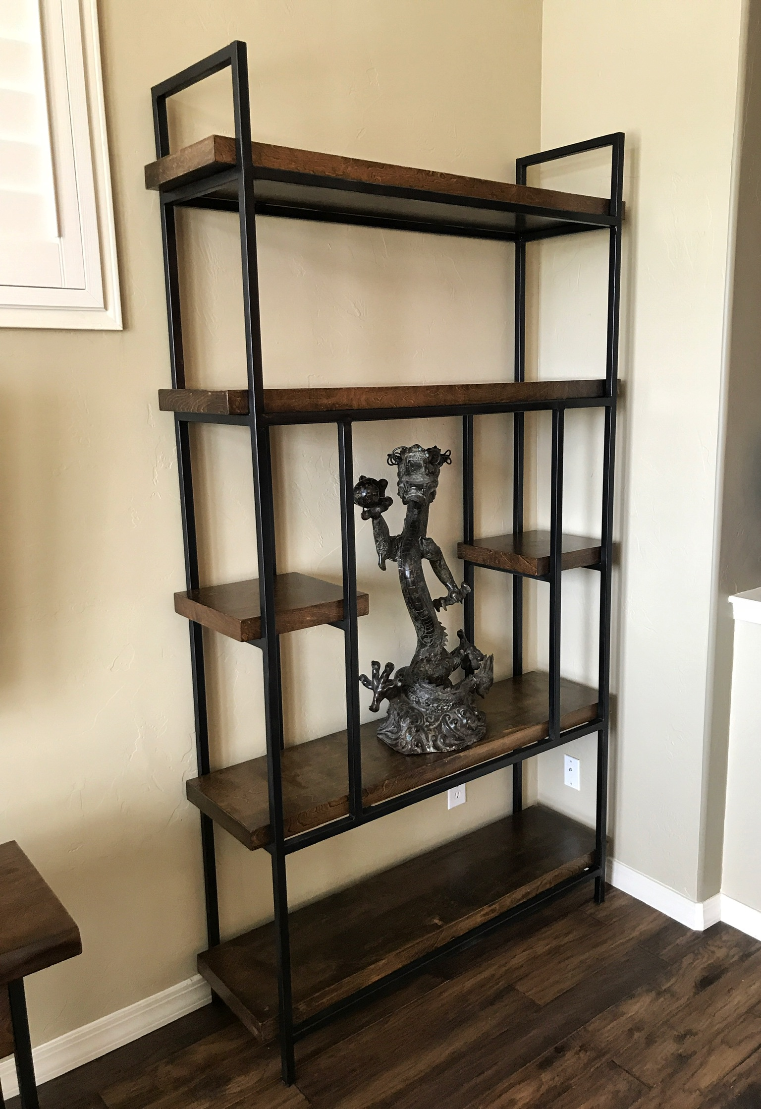 Wood and Steel Display Shelf