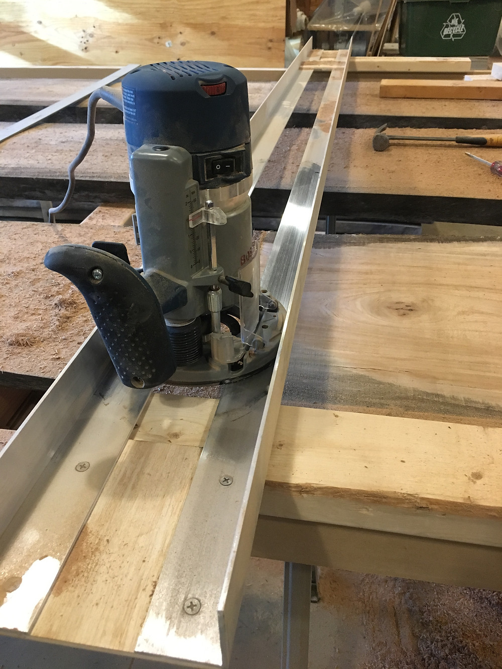 Router sled plunge router live edge slab Amana bit