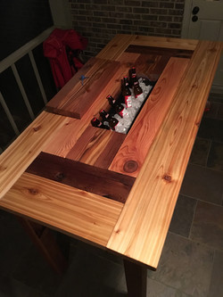 Custom Cedar Table w/ Hidden Cooler