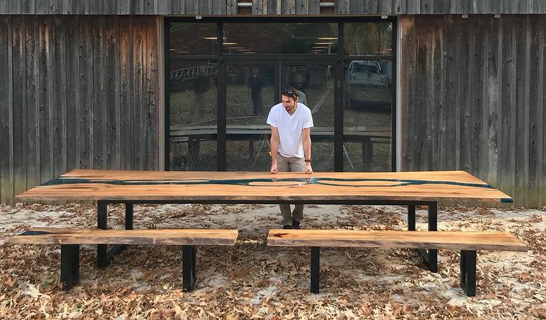 custom live edge epoxy dining table