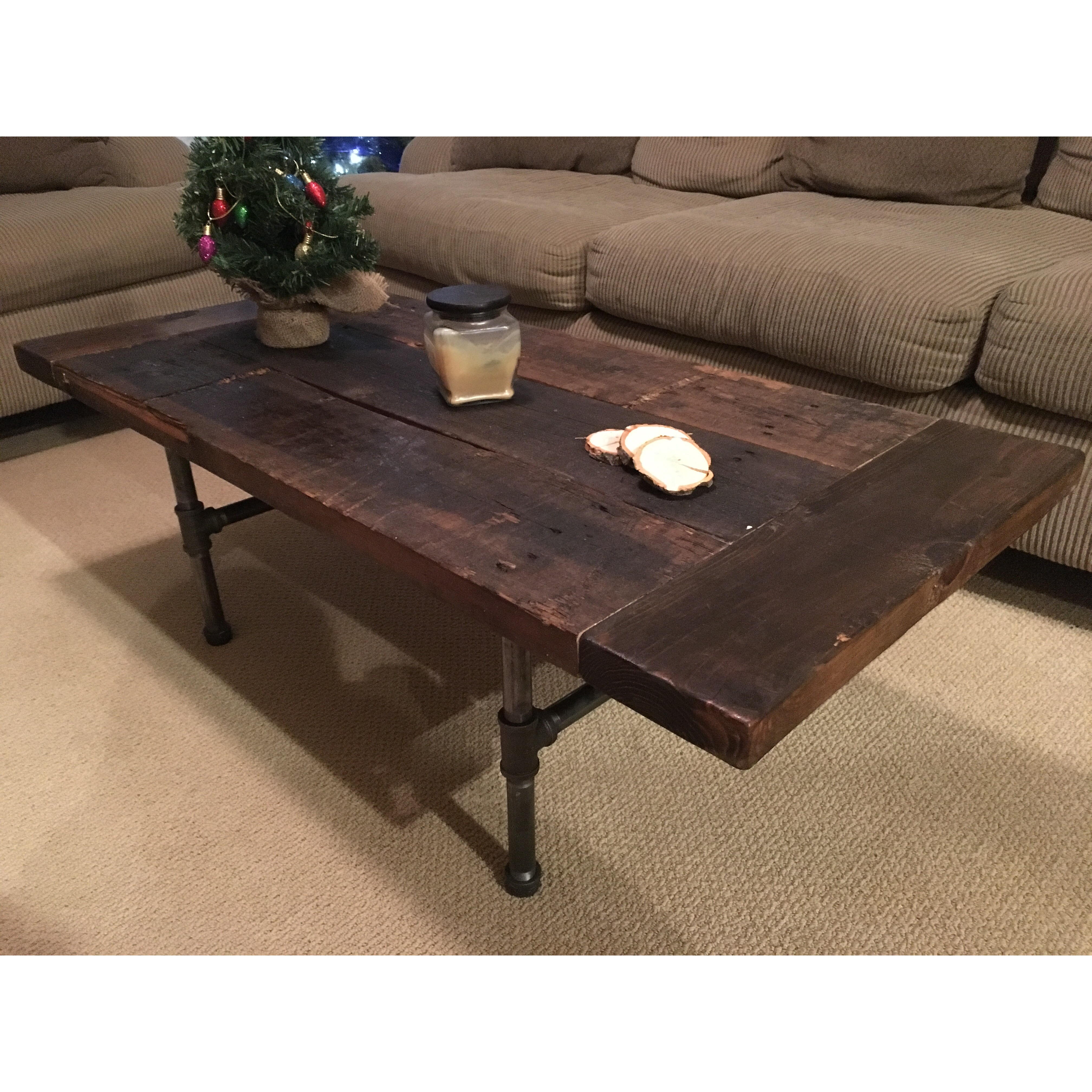 Reclaimed Wood / Industrial Base Coffee Table