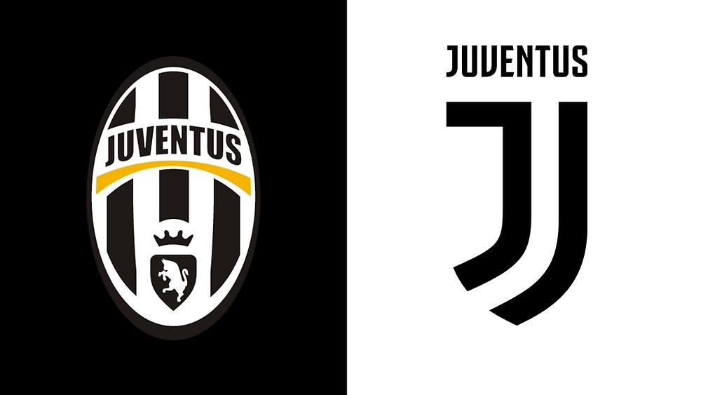 Escudos da Juventus de Turim, o antigo (esq.) e o novo (dir.).