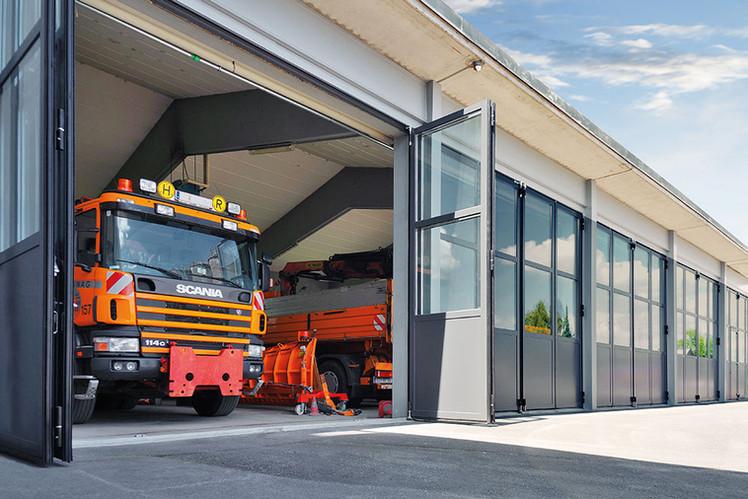 Bauhof Autobahnmeisterei Falttor AL602F RAL7016 Anthrazit