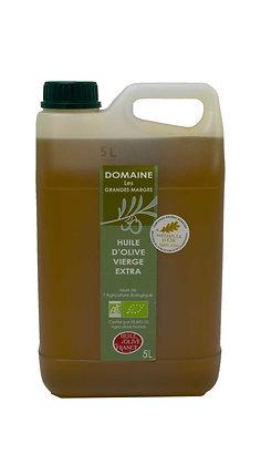 Huile d'olive bio 5L, fruité mûr, goût subtil