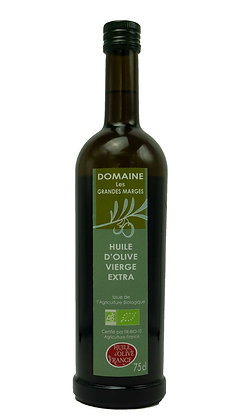 Huile d'olive bio 75cl, fruité vert, goût intense
