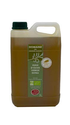 Huile d'olive bio 3L, fruité mûr, goût subtil