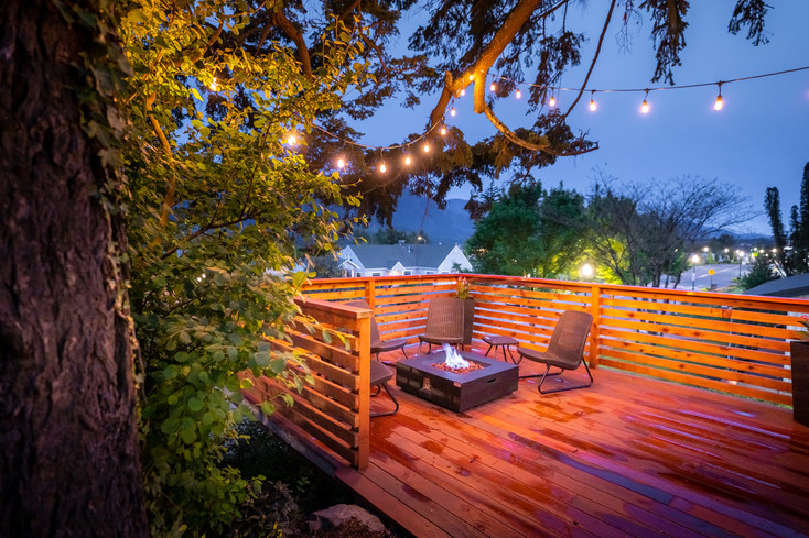 communal deck with fire pit